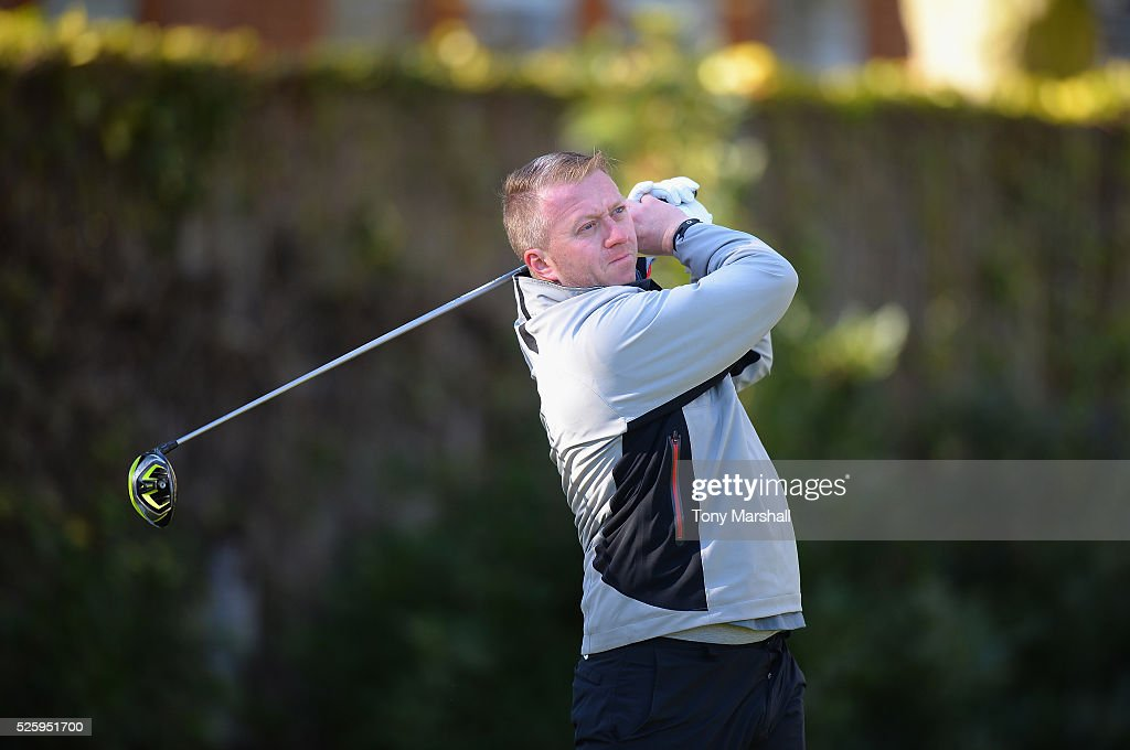 Philip Cary of Lakeside Golf Club plays his first shot on the 1st tee during the PGA Professional Championship - Midland Qualifier at Little Aston Golf Club on April 29, 2016 in Sutton Coldfield, England.