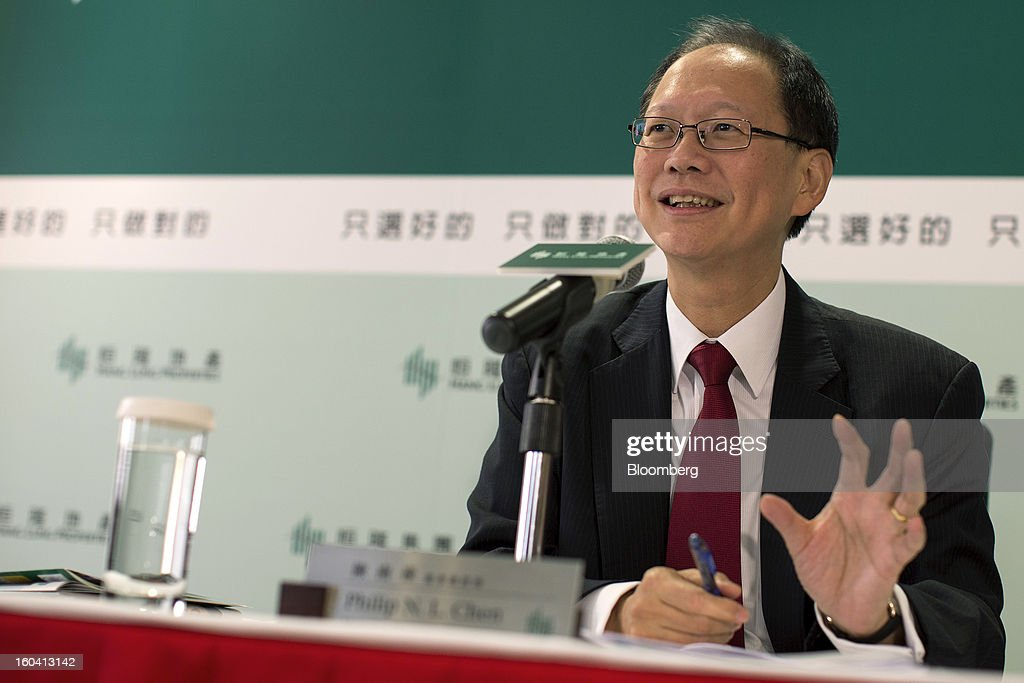 Philip Chen, managing director of Hang Lung Properties Ltd., speaks during a news conference in Hong Kong, China, on Thursday, Jan. 31, 2013. Hang Lung, the Hong Kong developer investing more than $8.5 billion building malls in mainland China, said 2012 underlying profit almost doubled after the company sold more properties in the city. Photographer: Jerome Favre/Bloomberg via Getty Images