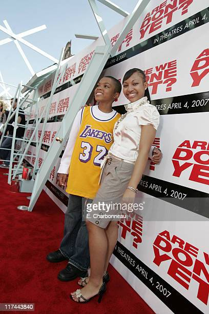 Philip Daniel Bolden and Aleisha Allen during The Premiere of Revolution Studios' and Columbia Pictures' 'Are We Done Yet' Red Carpet at Mann Village...