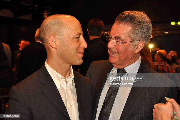 Philip Fischer and Austrian President Heinz Fischer attend the CD presentation of 'Wishing Well' by Hans Theessink at Studio 44 on April 4 2013 in...