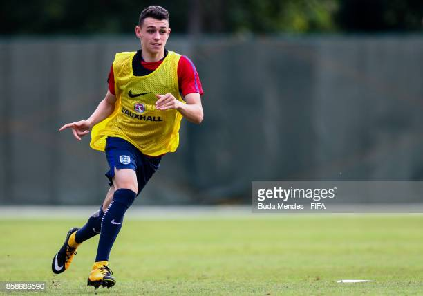 Philip Foden of England in action during training session ahead of the FIFA U17 World Cup India 2017 tournament at Kolkata 3 Training Centre on...