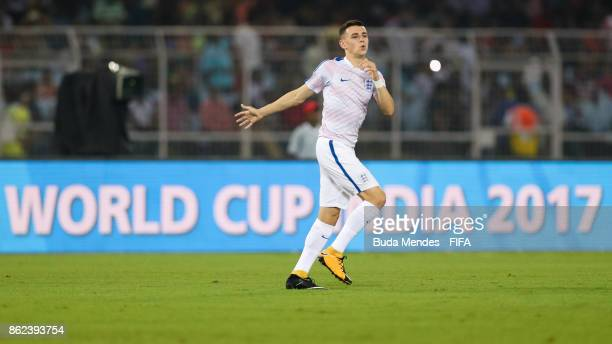 Philip Foden of England warms up ahead the FIFA U17 World Cup India 2017 Round of 16 match between England and Japan at Vivekananda Yuba Bharati...