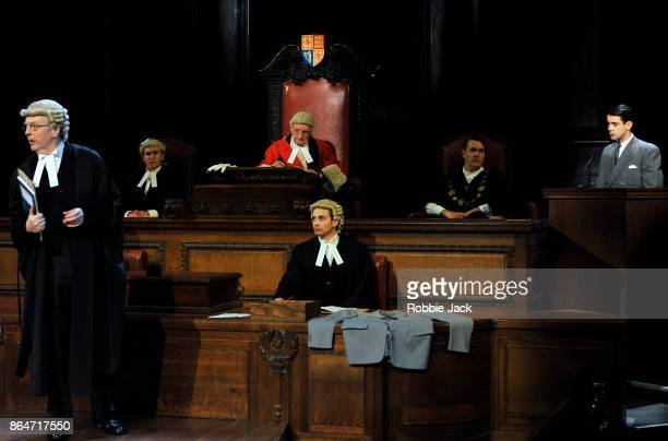 Philip Franks as Mr Myres QC and Jack Mullen as Leonard Volewith artists of the company in a production of Agatha Christie's Witness for the...