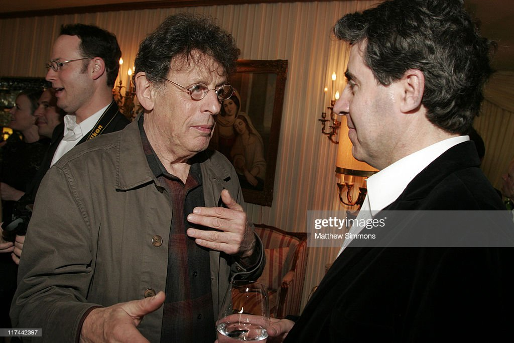 Philip Glass and Javier Navarrete during Society of Composers and Lyricists Annual Champagne Reception at Private Residence in Beverly Hills, California, United States.
