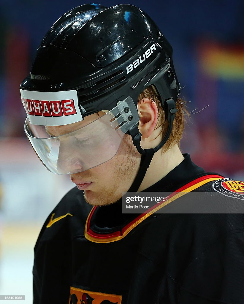 Philip Gogulla of Germany looks dejected after the IIHF World Championship group H match between Germany and Russia at Hartwall Areena on May 5, 2013 in Helsinki, Finland.