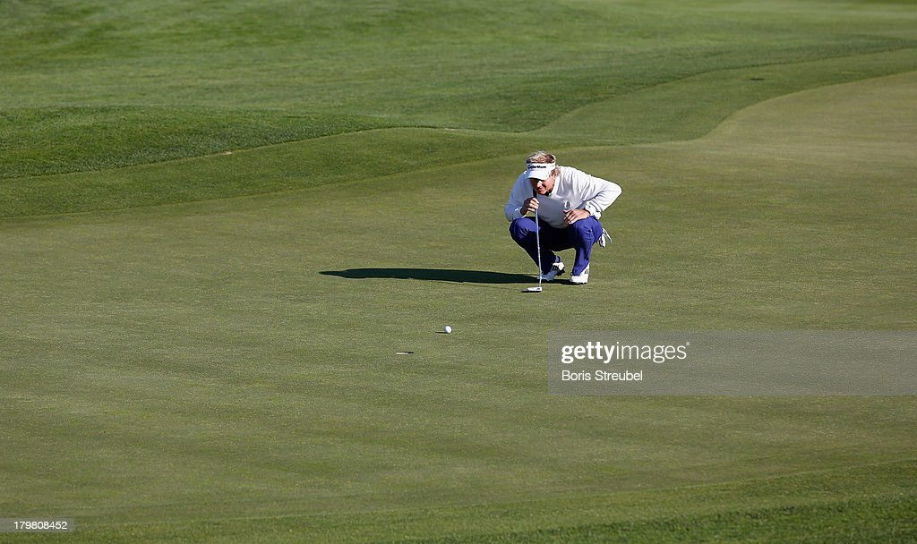 Philip Golding of England concentrates during the second round on day two of the WINSTONgolf Senior Open played at WINSTONgolf on September 7, 2013 in Schwerin, Germany.