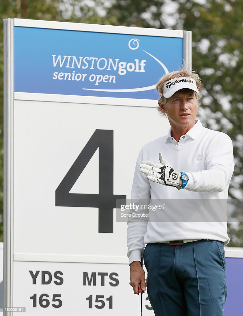 Philip Golding of England gestures during the final round on day three of the WINSTONgolf Senior Open played at WINSTONgolf on September 8, 2013 in Schwerin, Germany.
