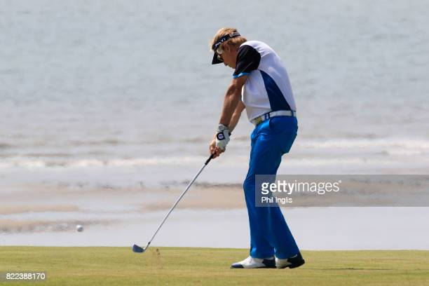 Philip Golding of England in action during the ProAm ahead of The Senior Tour Open Championship played at Royal Porthcawl Golf Club on July 25 2017...