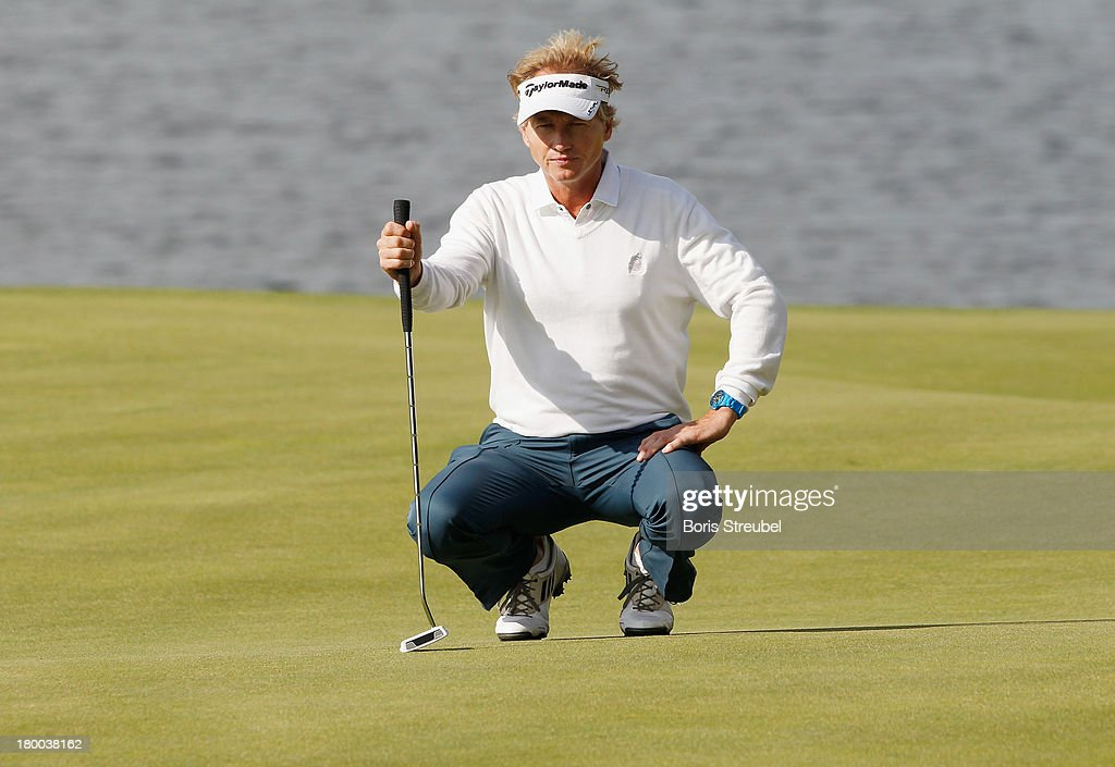 Philip Golding of England lines up a putt during the final round on day three of the WINSTONgolf Senior Open played at WINSTONgolf on September 8, 2013 in Schwerin, Germany.