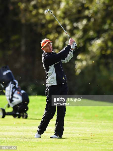 Philip Golding of England plays his second shot on the 1st Fairway during Day One of the Farmfoods European Senior Masters at Forest Of Arden...