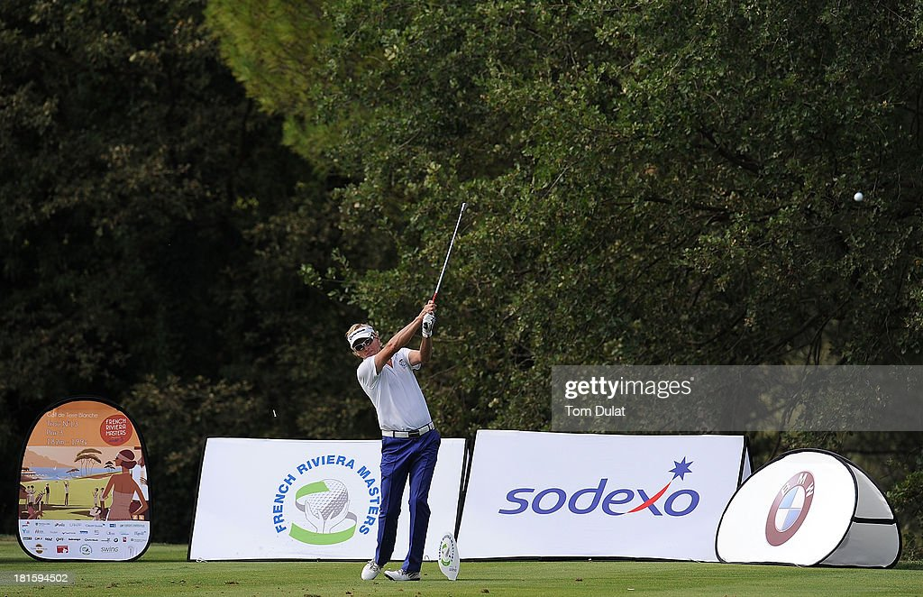 Philip Golding of England tees off during the final round of the French Riviera Masters played over the Chateau Course, Terre Blanche Resort on September 22, 2013 in Provencheres-sur-Fave, France.