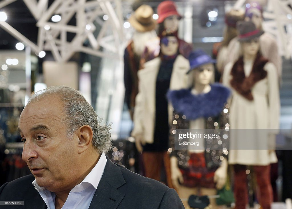 Philip Green, the billionaire owner of fashion retailer Arcadia Group Ltd., speaks during a Bloomberg Television interview inside a Topshop store on Oxford Street in London, U.K., on Thursday, Dec. 6, 2012. Green, the billionaire owner of the Arcadia fashion business, sold a 25 percent stake in the Topshop and Topman retail chains to Leonard Green & Partners LP, the co-owner of the J Crew fashion brand, in a deal valuing the businesses at 2 billion pounds ($3.2 billion). Photographer: Simon Dawson/Bloomberg via Getty Images Photographer: Simon Dawson/Bloomberg via Getty Images