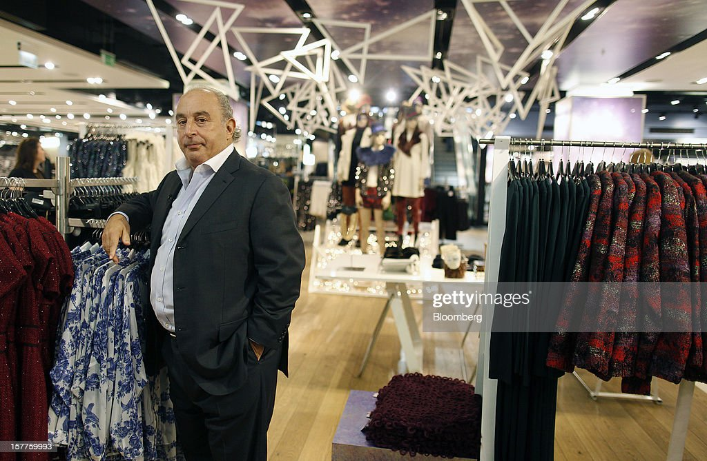 <a gi-track='captionPersonalityLinkClicked' href=/galleries/search?phrase=Philip+Green+-+British+Businessman&family=editorial&specificpeople=220418 ng-click='$event.stopPropagation()'>Philip Green</a>, the billionaire owner of fashion retailer Arcadia Group Ltd., poses for a photograph following a Bloomberg Television interview inside a Topshop store on Oxford Street in London, U.K., on Thursday, Dec. 6, 2012. Green, the billionaire owner of the Arcadia fashion business, sold a 25 percent stake in the Topshop and Topman retail chains to Leonard Green & Partners LP, the co-owner of the J Crew fashion brand, in a deal valuing the businesses at 2 billion pounds ($3.2 billion). Photographer: Simon Dawson/Bloomberg via Getty Images Photographer: Simon Dawson/Bloomberg via Getty Images