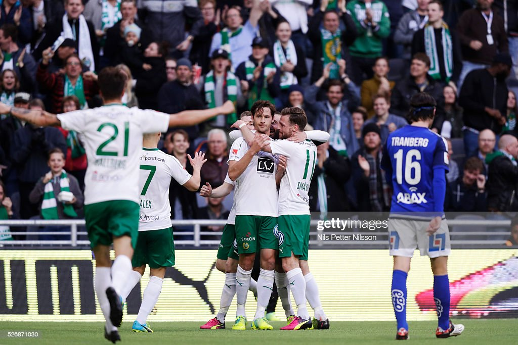 Philip Haglund of Hammarby IF celebrates after scoring to 1-0 during the Allsvenskan match between Hammarby IF and GIF Sundsvall at Tele2 Arena on May 1, 2016 in Stockholm, Sweden.