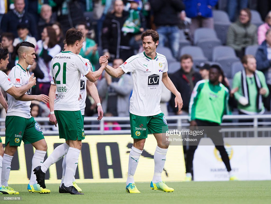 Philip Haglund of Hammarby IF celebrates after scoring to 1-1 during the Allsvenskan match between Hammarby IF and GIF Sundsvall at Tele2 Arena on May 1, 2016 in Stockholm, Sweden.