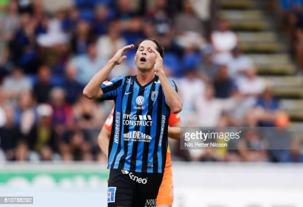 Philip Haglund of IK Sirius FK dejected during the Allsvenskan match between IK Sirius FK and Athletic FC Eskilstuna at Studenternas IP on July 8...
