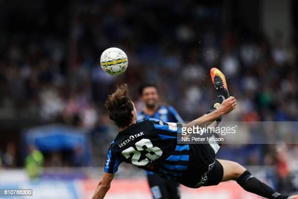 Philip Haglund of IK Sirius FK shoots an overhead kick during the Allsvenskan match between IK Sirius FK and Athletic FC Eskilstuna at Studenternas...