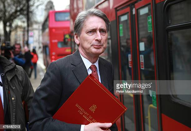 Philip Hammond Secretary of State for Defence leaves the Cabinet Office after attending a National Security Council meeting on March 3 2014 in London...