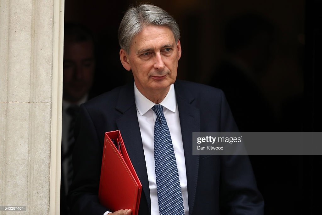 <a gi-track='captionPersonalityLinkClicked' href=/galleries/search?phrase=Philip+Hammond&family=editorial&specificpeople=2486715 ng-click='$event.stopPropagation()'>Philip Hammond</a>, Secretary of State for Foreign and Commonwealth Affairs leaves Downing Street following a cabinet meeting on June 27, 2016 in London, England. British Prime Minister David Cameron chaired an emergency Cabinet meeting this morning, after Britain voted to leave the European Union. Chancellor George Osborne spoke at a press conference ahead of the start of financial trading and outlining how the Government will 'protect the national interest' after the UK voted to leave the EU.