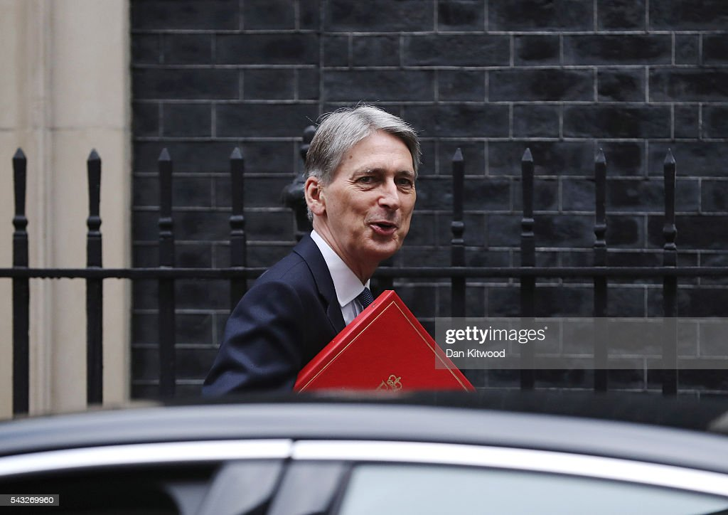 <a gi-track='captionPersonalityLinkClicked' href=/galleries/search?phrase=Philip+Hammond&family=editorial&specificpeople=2486715 ng-click='$event.stopPropagation()'>Philip Hammond</a>, Secretary of State for Foreign and Commonwealth Affairs arrives for a cabinet meeting at Downing Street on June 27, 2016 in London, England. British Prime Minister David Cameron is due to chair an emergency Cabinet meeting this morning, after Britain voted to leave the European Union. Chancellor George Osborne spoke at a press conference ahead of the start of financial trading and outlining how the Government will 'protect the national interest' after the UK voted to leave the EU.