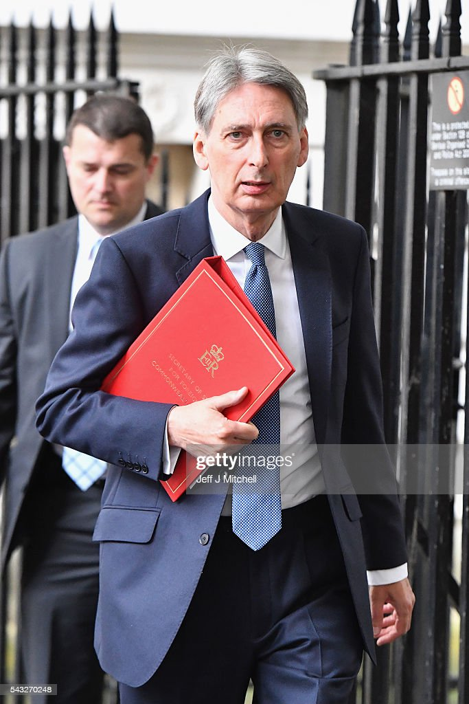 Philip Hammond, Secretary of State for Foreign and Commonwealth Affairs arrives for a cabinet meeting at Downing Street on June 27, 2016 in London, England. British Prime Minister David Cameron is due to chair an emergency Cabinet meeting this morning, after Britain voted to leave the European Union. Chancellor George Osborne spoke at a press conference ahead of the start of financial trading and outlining how the Government will 'protect the national interest' after the UK voted to leave the EU.