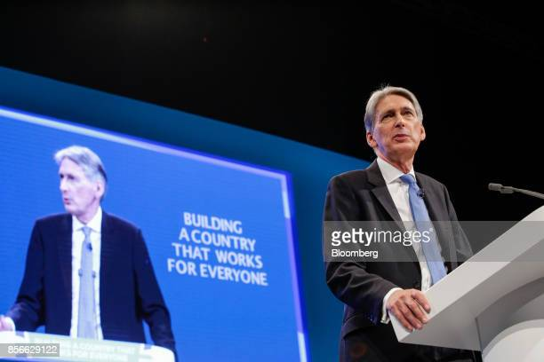 Philip Hammond UK chancellor of the exchequer delivers his speech at the annual Conservative Party conference in Manchester UK on Monday Oct 2 2017...