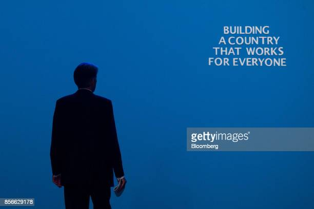 Philip Hammond UK chancellor of the exchequer walks off the stage after delivering his speech at the annual Conservative Party conference in...