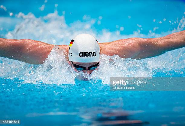 Philip Heintz of Germany competes in the Mens 200m Medley during the Len European Short Course Swimming Championships in Herning Denmark on December...