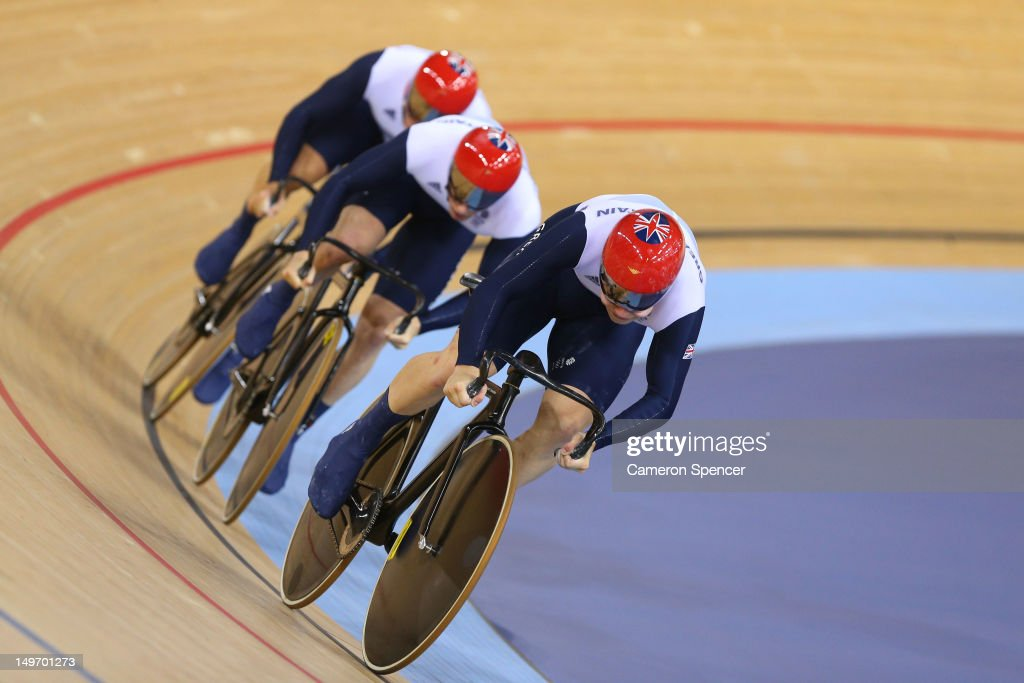 Philip Hindes (front), Jason Kenny (C) and Sir Chris Hoy (back) of Great Britain compete in the Men's Team Sprint Track Cycling Final on Day 6 of the London 2012 Olympic Games at Velodrome on August 2, 2012 in London, England.