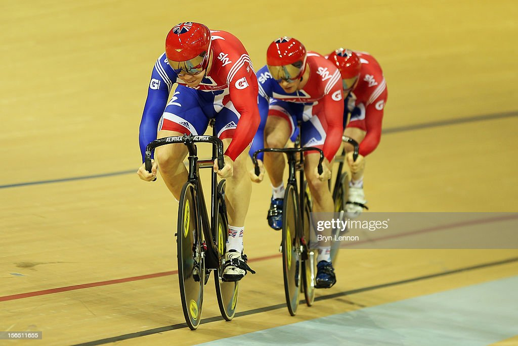Philip Hindes leads Jason Kenny and Ed Clancy of Great Britain in qualifying for the Men's Team Sprint during day one of the UCI Track Cycling World Cup at the Sir Chris Hoy Velodrome on November 16, 2012 in Glasgow, Scotland.