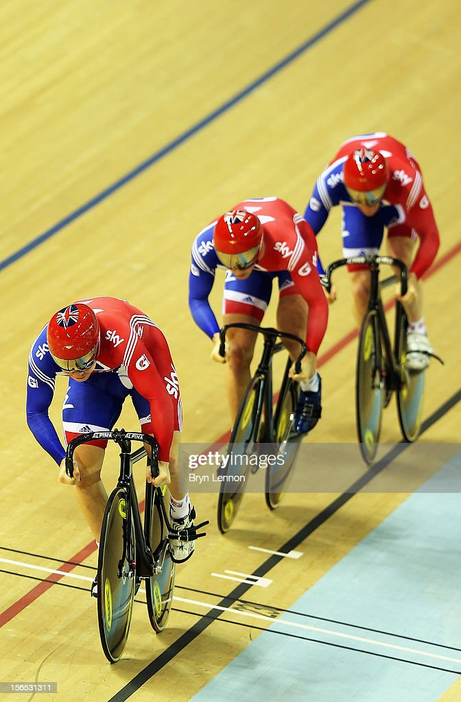 Philip Hindes leads Jason Kenny and Ed Clancy of Great Britain in the Men's Team Sprint final during day one of the UCI Track Cycling World Cup at the Sir Chris Hoy Velodrome on November 16, 2012 in Glasgow, Scotland.