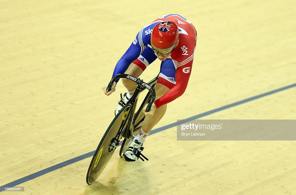 Philip Hindes of Great Britain in action during qualifying for the Men's Sprint on day three of the UCI Track Cycling World Cup at the Sir Chris Hoy Velodrome on November 18, 2012 in Glasgow, Scotland.