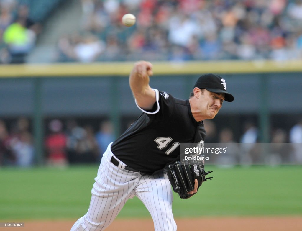 <a gi-track='captionPersonalityLinkClicked' href=/galleries/search?phrase=Philip+Humber&family=editorial&specificpeople=836505 ng-click='$event.stopPropagation()'>Philip Humber</a> #41 of the Chicago White Sox pitches against the Minnesota Twins in the first inning on May 24, 2012 at U.S. Cellular Field in Chicago, Illinois.