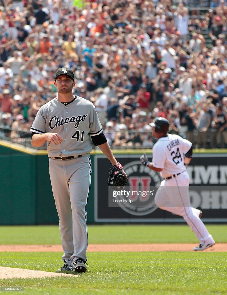 <a gi-track='captionPersonalityLinkClicked' href=/galleries/search?phrase=Philip+Humber&family=editorial&specificpeople=836505 ng-click='$event.stopPropagation()'>Philip Humber</a> #41 of the Chicago White Sox reacts after giving up a solo home run in the first inning to <a gi-track='captionPersonalityLinkClicked' href=/galleries/search?phrase=Miguel+Cabrera&family=editorial&specificpeople=202141 ng-click='$event.stopPropagation()'>Miguel Cabrera</a> #24 during the game at Comerica Park on July 22, 2012 in Detroit, Michigan.