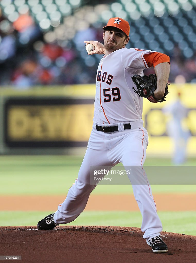 <a gi-track='captionPersonalityLinkClicked' href=/galleries/search?phrase=Philip+Humber&family=editorial&specificpeople=836505 ng-click='$event.stopPropagation()'>Philip Humber</a> #59 of the Houston Astros pitches against the Cleveland Indians in the first inning at Minute Maid Park on April 20, 2013 in Houston, Texas.