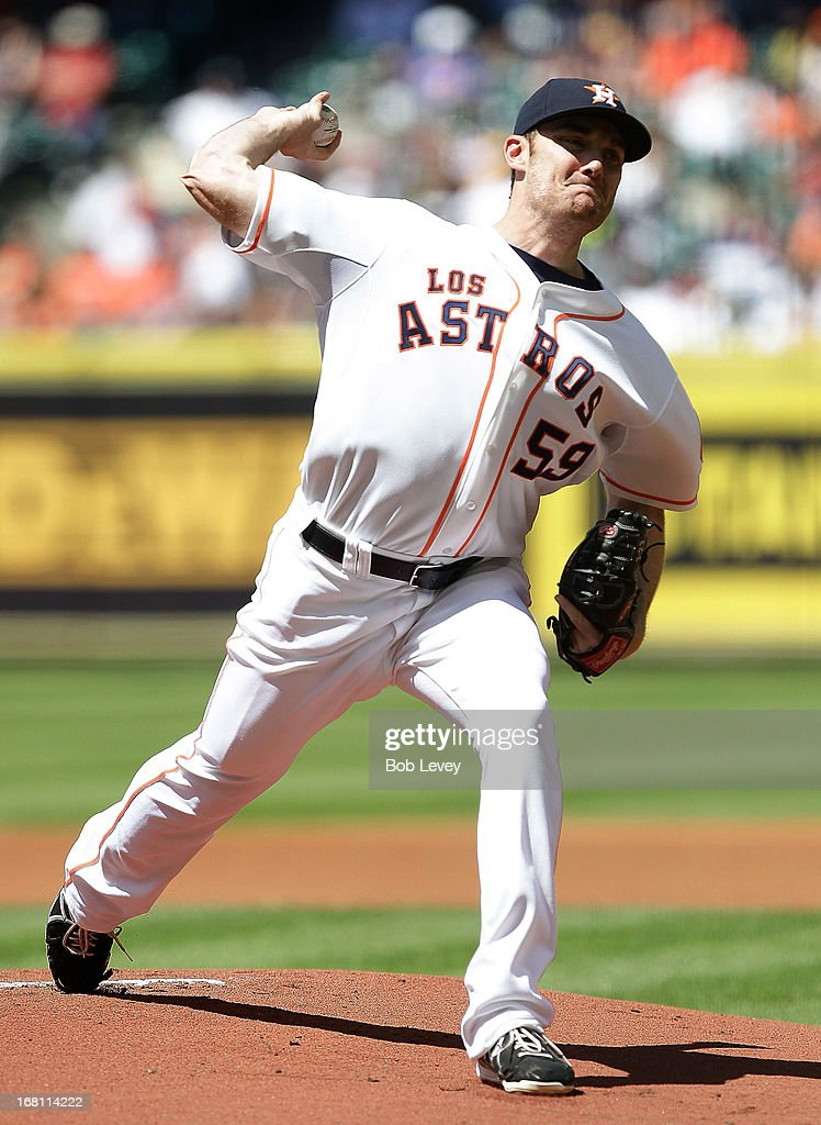 <a gi-track='captionPersonalityLinkClicked' href=/galleries/search?phrase=Philip+Humber&family=editorial&specificpeople=836505 ng-click='$event.stopPropagation()'>Philip Humber</a> #59 of the Houston Astros pitches in the first inning against the Detroit Tigers at Minute Maid Park on May 5, 2013 in Houston, Texas.