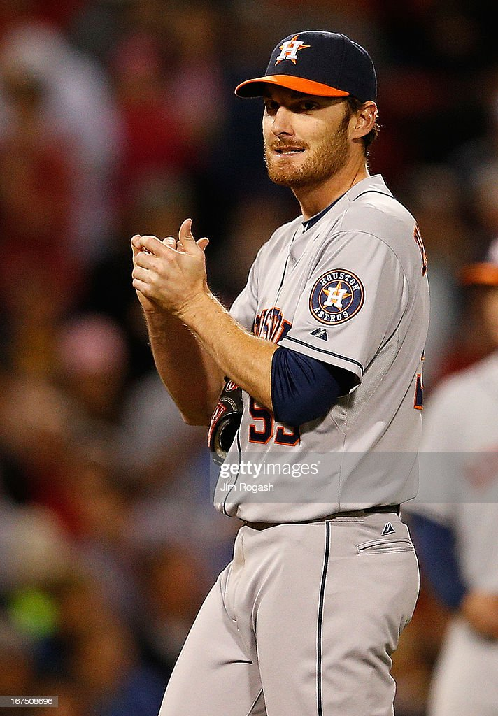 <a gi-track='captionPersonalityLinkClicked' href=/galleries/search?phrase=Philip+Humber&family=editorial&specificpeople=836505 ng-click='$event.stopPropagation()'>Philip Humber</a> #59 of the Houston Astros reacts after giving up two runs in the 5th inning against the Boston Red Sox at Fenway Park on April 25, 2013 in Boston, Massachusetts.