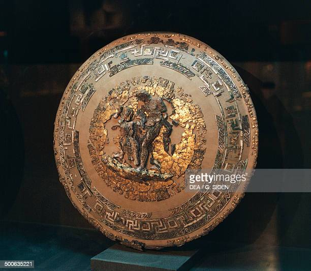 Philip II of Macedonia's gold and ivory shield from the Royal tombs of Vergina Greece Greek civilisation 4th century BC SALONIKA ARHEOLOGIKÓ MOUSSÍo