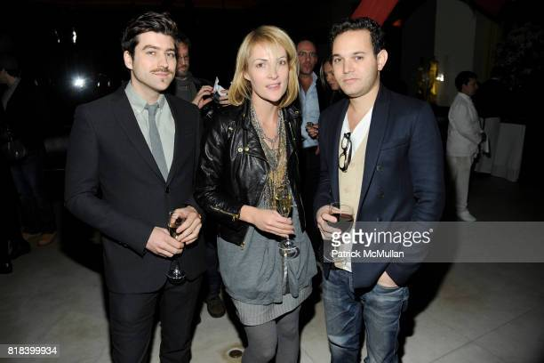 Philip Kressin Emily Haines and Aaron Sterns attend THE CINEMA SOCIETY DONNA KARAN host the after party for 'HAPPY TEARS' at Mr Chow on February 16...