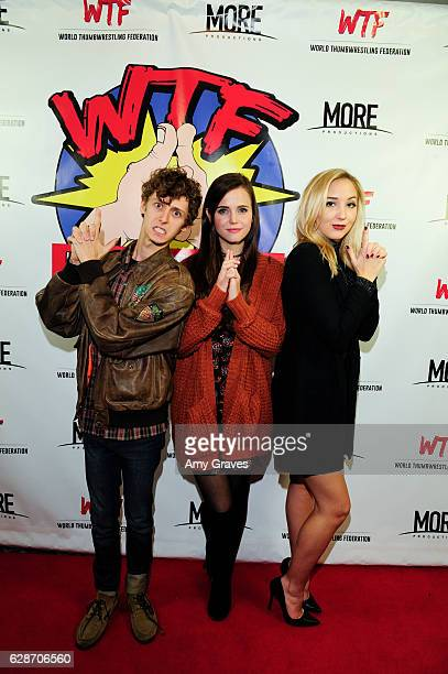 Philip Labes Tiffany Alvord and Audrey Whitby attend the WTF World Thumbwrestling Federation Screening on December 8 2016 in Los Angeles California