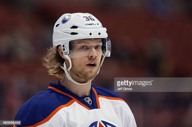 Philip Larsen of the Edmonton Oilers looks on prior to the start of the game against the Anaheim Ducks at Honda Center on April 2 2014 in Anaheim...
