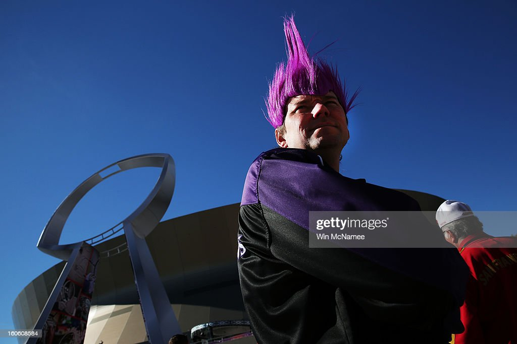 Philip Luelsdorf, fan of the Baltimore Ravens shows support for his team outside the stadium prior to Super Bowl XLVII against the San Francisco 49ers at the Mercedes-Benz Superdome on February 3, 2013 in New Orleans, Louisiana.
