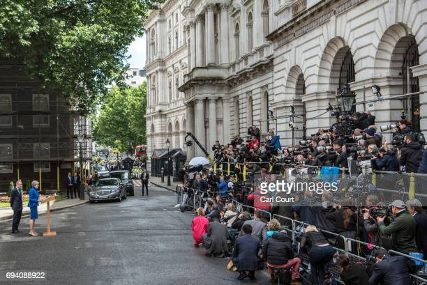 Philip May looks on as British Prime Minister Theresa May speaks after returning from Buckingham Palace outside 10 Downing Street on June 9 2017 in...