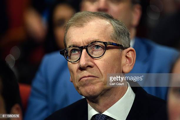 Philip May the husband of British Prime Minister Theresa May looks on during a speech on the first day of the Conservative Party Conference 2016 at...