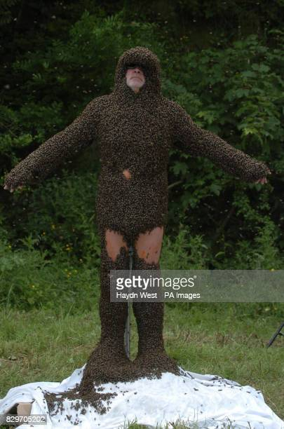 Philip McCabe before attempting to break the world record for a 'beard of bees' in a field near Cahir Co Tipperary The record is gauged by deducting...