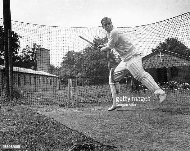 Philip Mountbatten prior to his marriage to Princess Elizabeth batting at the nets during cricket practice while in the Royal Navy July 31st 1947