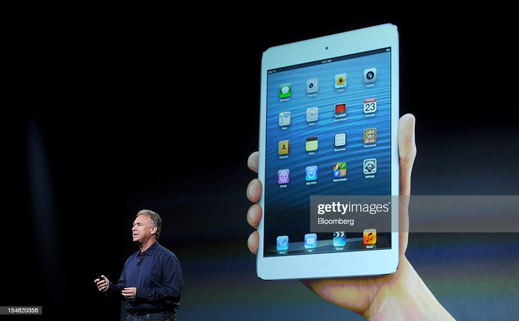 Philip 'Phil' Schiller, senior vice president of worldwide marketing at Apple Inc., discusses the iPad Mini during an event in San Jose, California, U.S., on Tuesday, Oct. 23, 2012. Apple Inc. introduced a smaller version of the iPad designed to keep customers from buying low-cost tablets from competitors Microsoft Corp., Amazon.com Inc. and Google Inc. Photographer: Noah Berger/Bloomberg via Getty Images