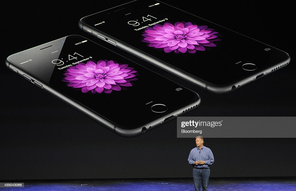 Philip 'Phil' Schiller, senior vice president of worldwide marketing at Apple Inc., speaks about the iPhone 6 and iPhone 6 Plus during a product announcement at Flint Center in Cupertino, California, U.S., on Tuesday, Sept. 9, 2014. Apple Inc. unveiled redesigned iPhones with bigger screens, overhauling its top-selling product in an event that gives the clearest sign yet of the company's product direction under Chief Executive Officer Tim Cook. Photographer: David Paul Morris/Bloomberg via Getty Images
