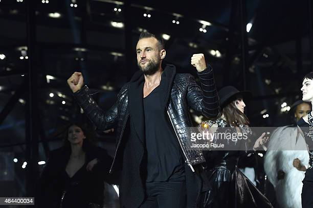 Philip Plein walks the runway at the Philipp Plein show during the Milan Fashion Week Autumn/Winter 2015 on February 25 2015 in Milan Italy