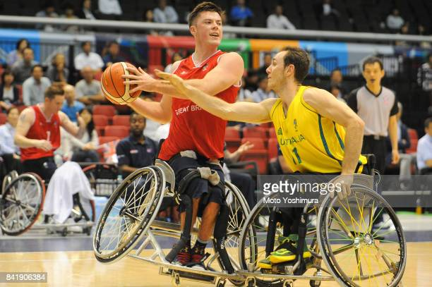 Philip Pratt of Great Britain and Tom O'NeillThorne of Australia compete for the ball during the Wheelchair Basketball World Challenge Cup match...